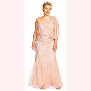 Adrianna Papell - size 24W One Shldr Beaded Gown